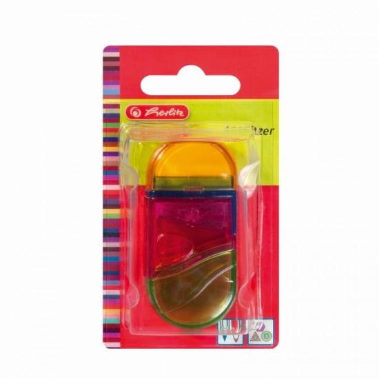 Ascutitoare+Radiera plastic ovala 2 in 1 diverse culori/blister - 10198612