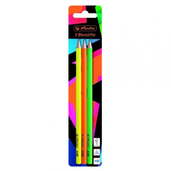Creion grafit, triunghiular, mina hb, motiv neon art set 3 bucati/blister - 50027736