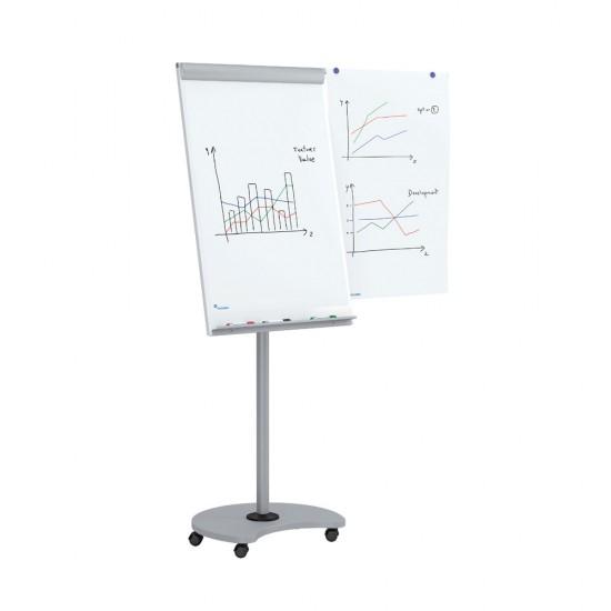 Flipchart mobil 360a°, magnetic, reglabil pe inaltime, posibilitate de utilizare in pozitie orizontala, doua brate laterale - 618V15