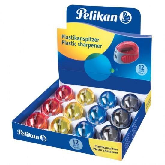 Ascutitoare plastic cu container, diverse culori, prezentare in cutie - 700214