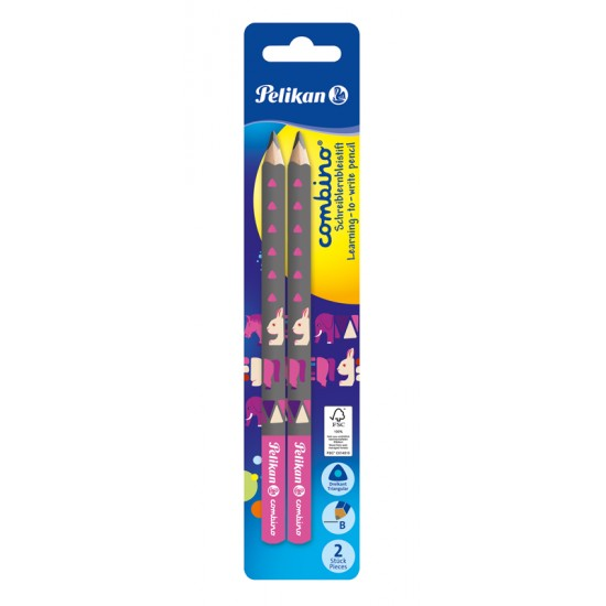 Creion grafit, lacuit combino, gros,  invata sa scrii, mina b, corp roz, 2 bucati/blister - 811170