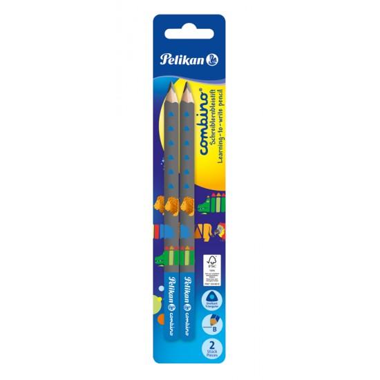 Creion grafit, lacuit combino, invata sa scrii, mina b, corp albastru, 2 bucati/blister - 811187