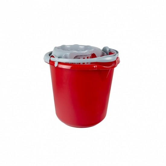 Galeata rotunda rosie cu storcator 10 litri  - AZ-6563