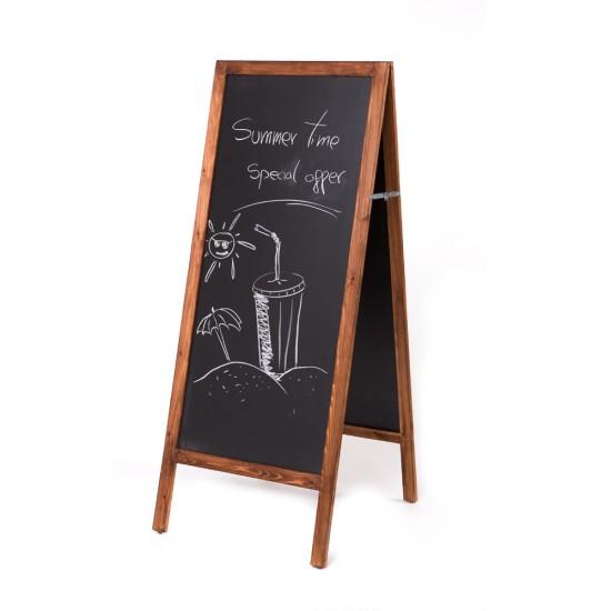 Panou de informare de podea, 'a-board', pentru scris cu creta, dimensiune 90 x 50 cm - BSA1CH