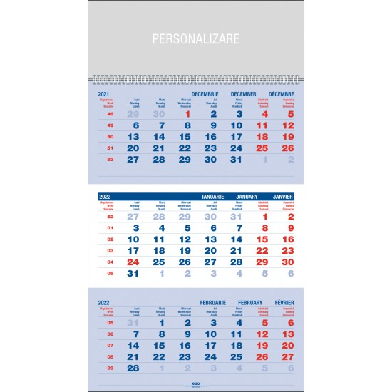 Calendar de perete triptic - CPT
