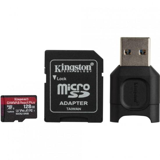 Card reader kingston + sd reader 128gb, r/w: 300/260 mb/s, uhs-ii, class 3, v90, exfat - MLPMR2/128GB