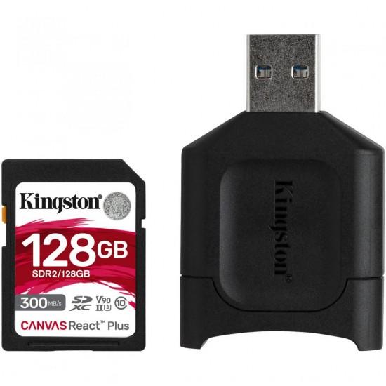 Card reader kingston react plus + sd reader 128gb, capacity: 128gb, class 10, uhs-ii, u3, v90, r/w: 300/260 mb/s, exfat - MLPR2/128GB
