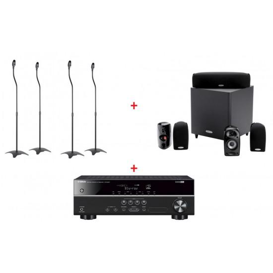 Sistem audio home cinema cu receiver yamaha htr2071, sistem boxe 5.1 polk audio tl1600 si suporti boxe ss01 - PAC-HTR2071+PLK-TL1600+SS01