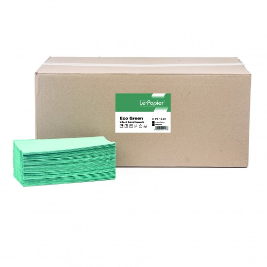 Prosoape hartie pliate in v lepapier ecogreen, 1 strat, 250 buc./set - PZ12-25