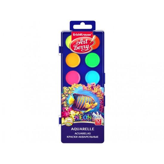 Acuarele artberry neon cu protectie uv, 12/set - SKP034
