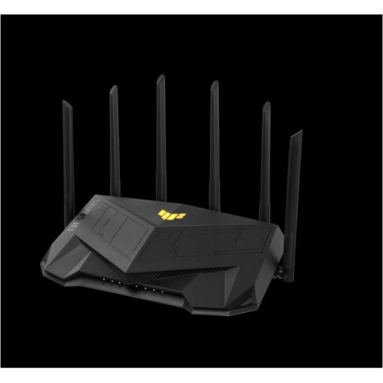 Asus tuf gaming ax5400 dual band wifi 6 gaming router, network standard: ieee 802.11a, ieee 802.11b, ieee 802.11g, wifi 4 (802.11n), wifi 5 (802.11ac), wifi 6 (802.11ax), ipv4, ipv6, external antenna x 6, transmit/receive: 2.4 ghz - TUF-AX5400